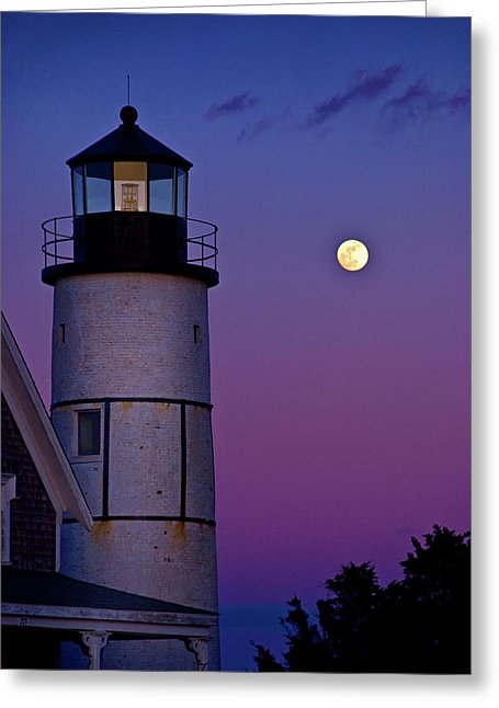 Twilight At Sandy Neck Lighthouse - Greeting Card