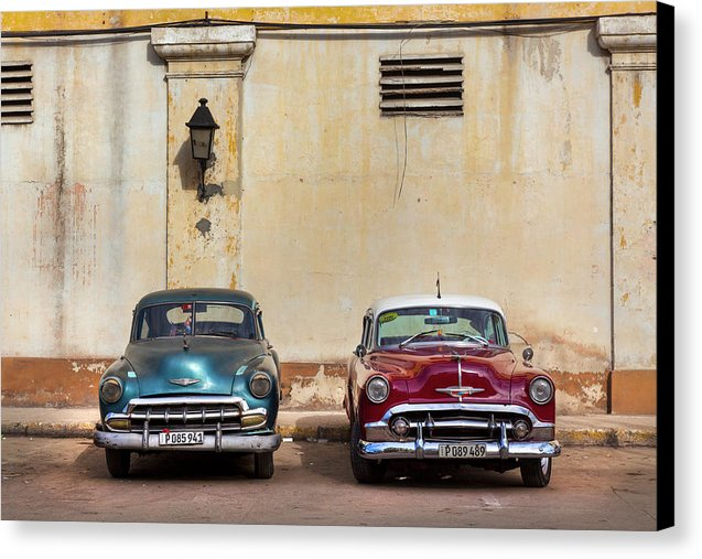 Two Old Vintage Chevys Havana Cuba - Canvas Print