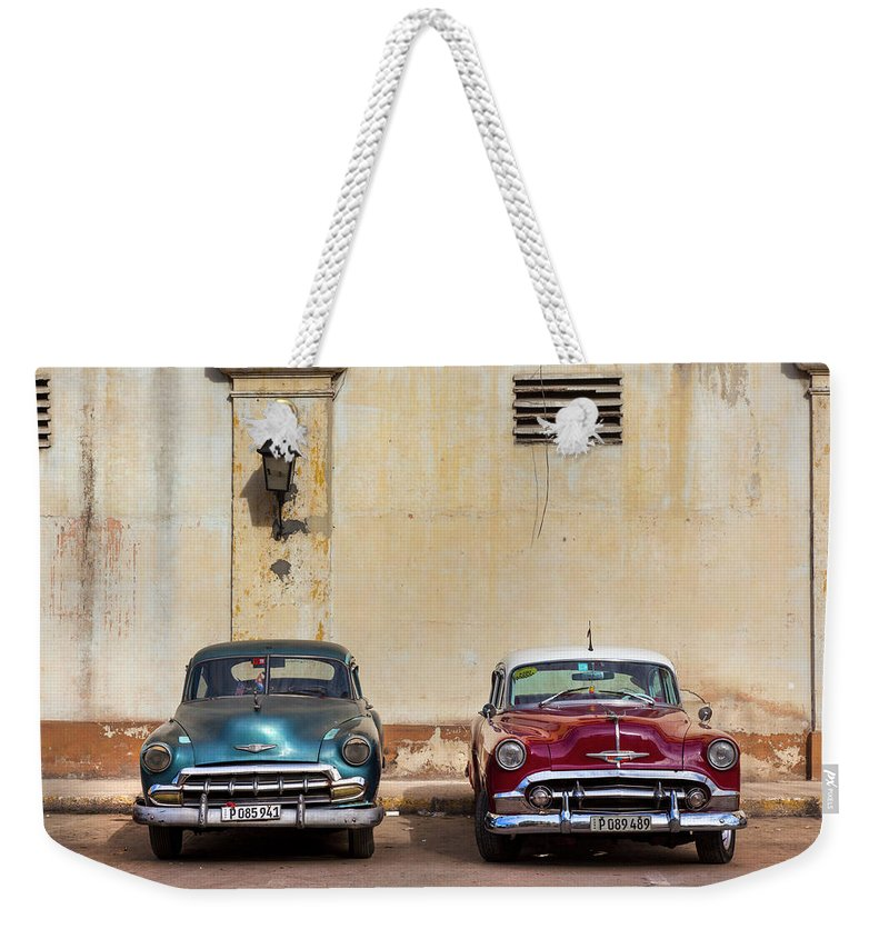 Two Old Vintage Chevys Havana Cuba - Weekender Tote Bag
