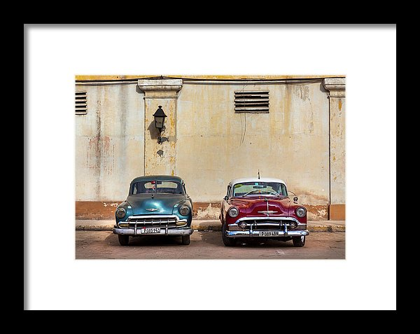 Two Old Vintage Chevys Havana Cuba - Framed Print