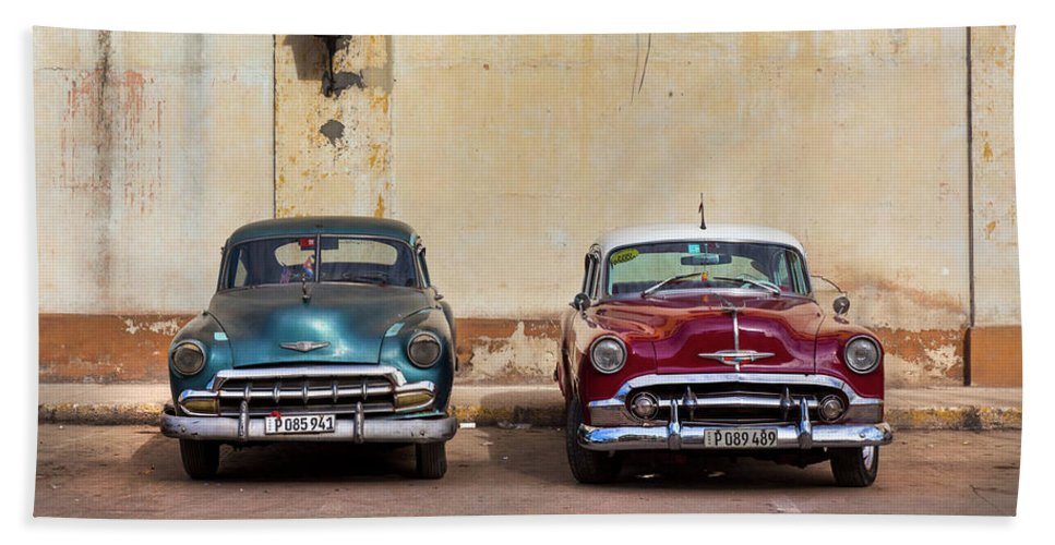 Two Old Vintage Chevys Havana Cuba - Beach Towel