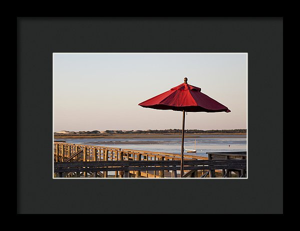 Red Umbrella At Barnstable Harbor - Framed Print