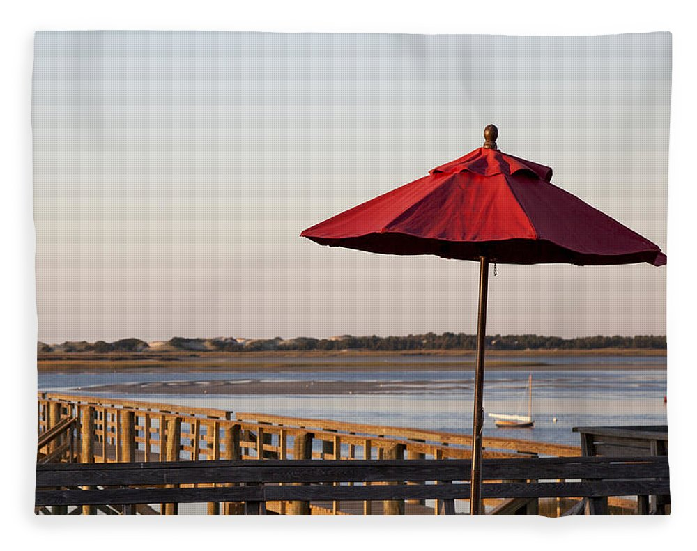 Red Umbrella At Barnstable Harbor - Blanket