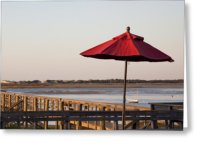 Red Umbrella At Barnstable Harbor - Greeting Card