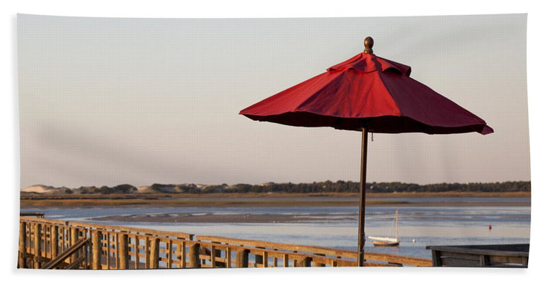 Red Umbrella At Barnstable Harbor - Beach Towel