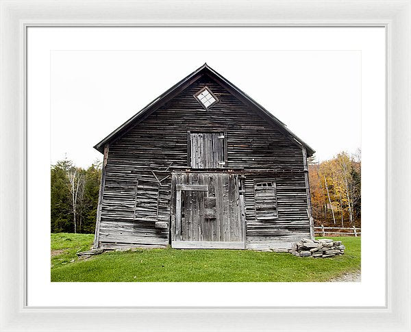 Old Vermont Barn Near Stowe - Framed Print