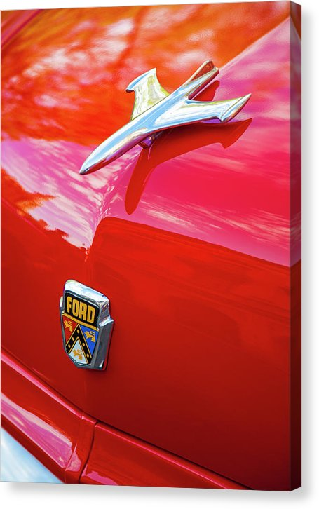 Vintage Ford Hood Ornament Havana Cuba - Canvas Print
