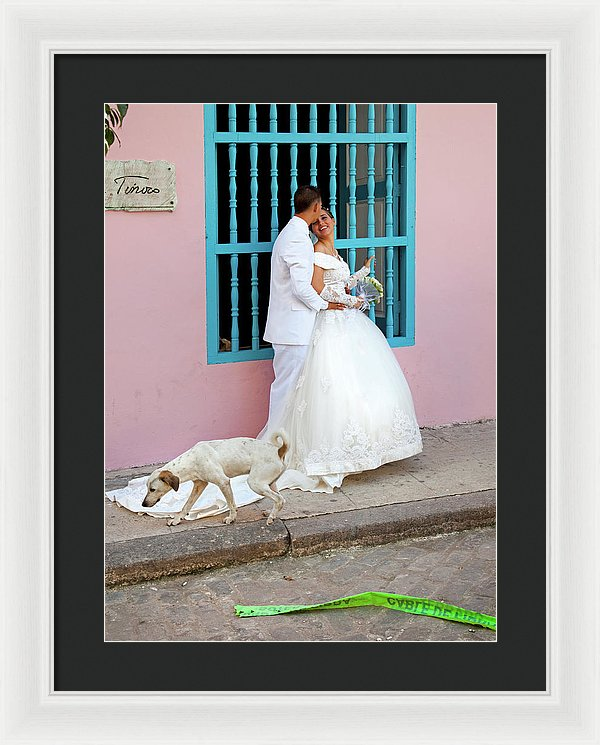 Wedding Couple With Dog Havana Cuba - Framed Print