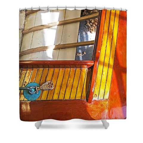 Vintage Boat Mirror Water Reflection - Shower Curtain
