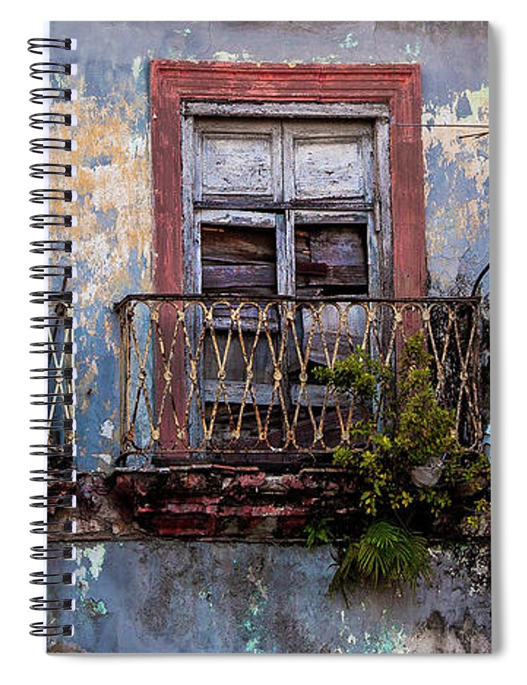 Windows And Ruins At Calle Bernaza Havana Cuba - Spiral Notebook