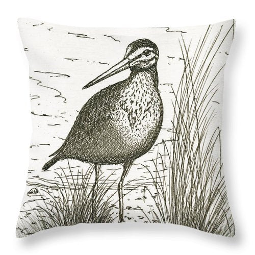 Yellowlegs Shorebird - Throw Pillow