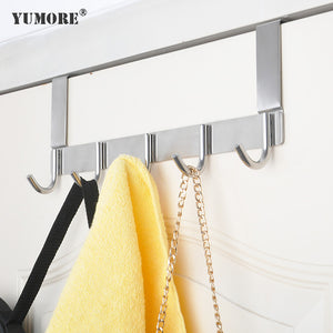 Brushed small Stainless steel over the door coat hook rack 3-8 hooks