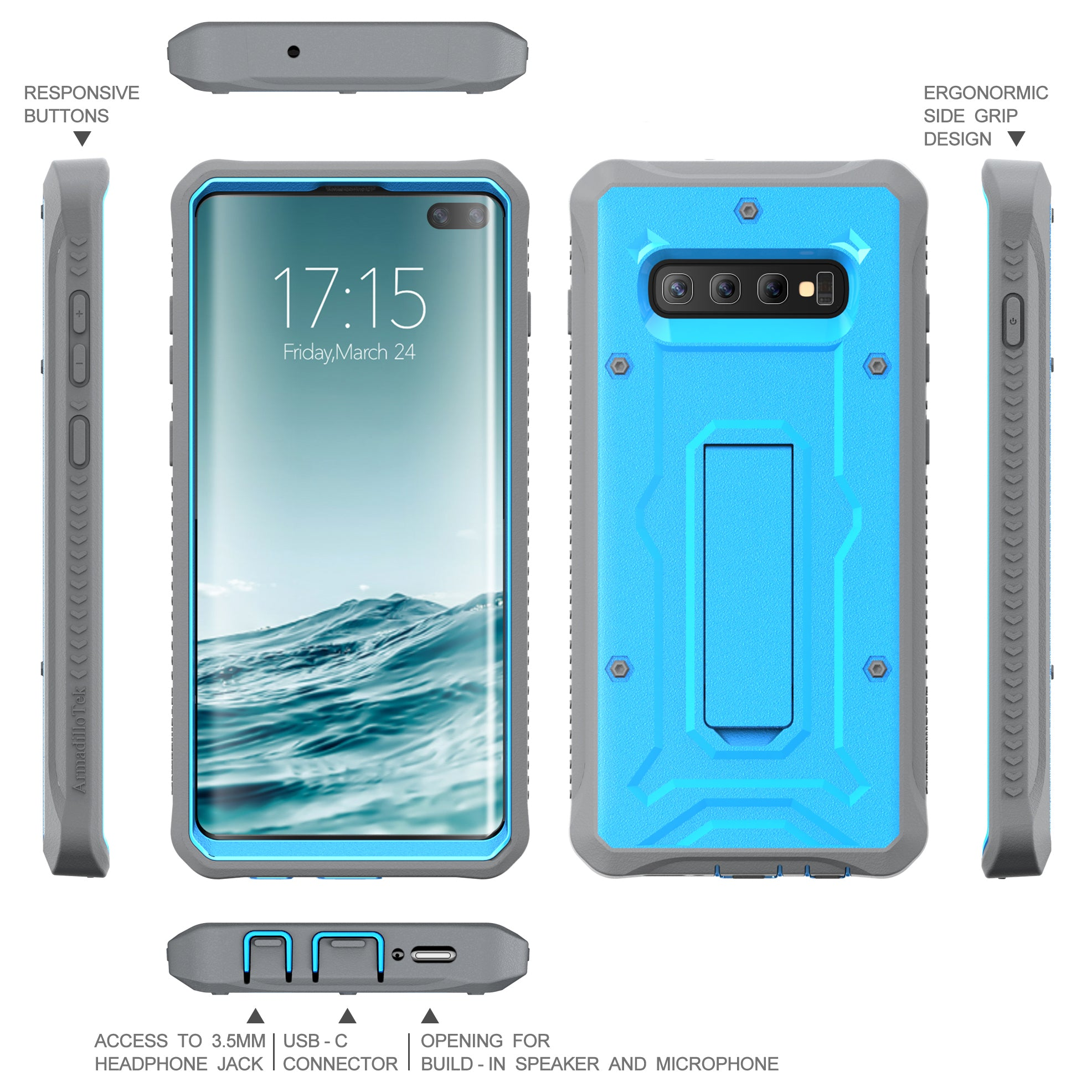 Vanguard Series Galaxy S10+ Plus Case - Blue - AmardilloTek