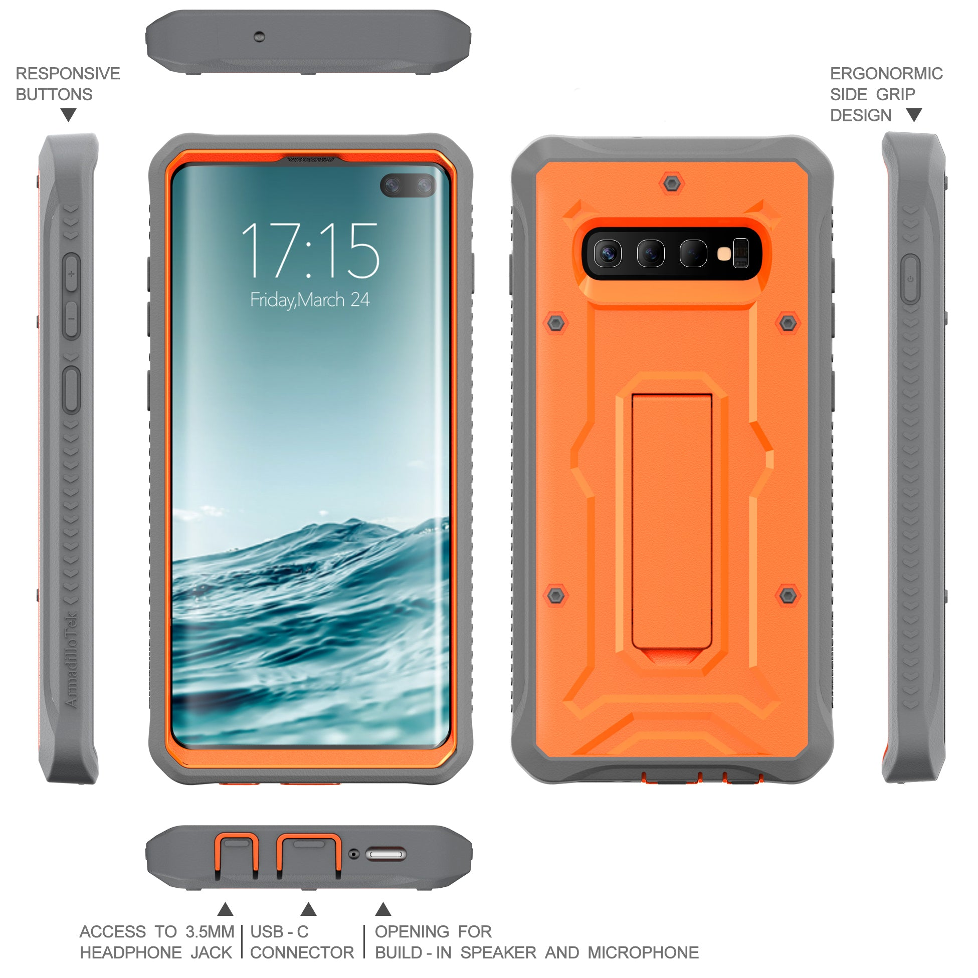 Vanguard Series Galaxy S10+ Plus Case - Orange - AmardilloTek