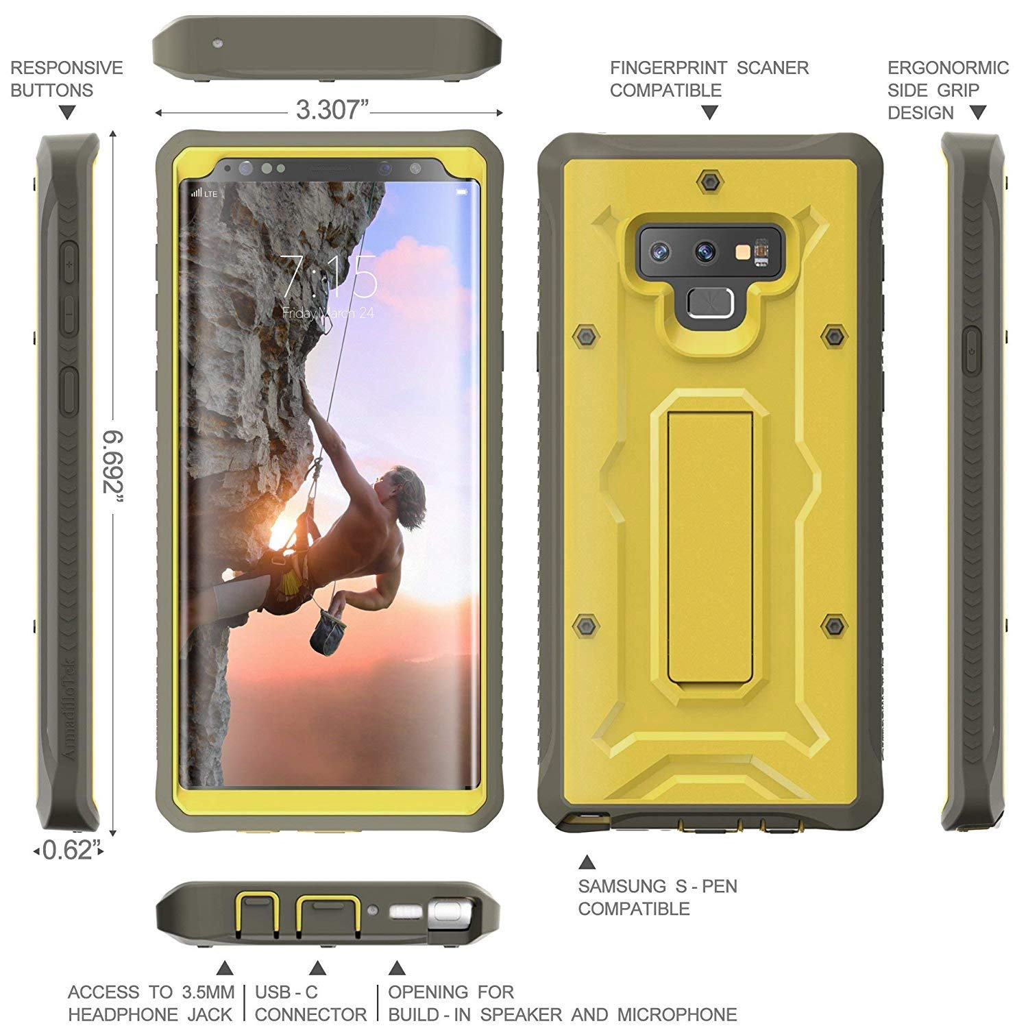 Vanguard Series Galaxy Note 9 Case - Olive Green - AmardilloTek