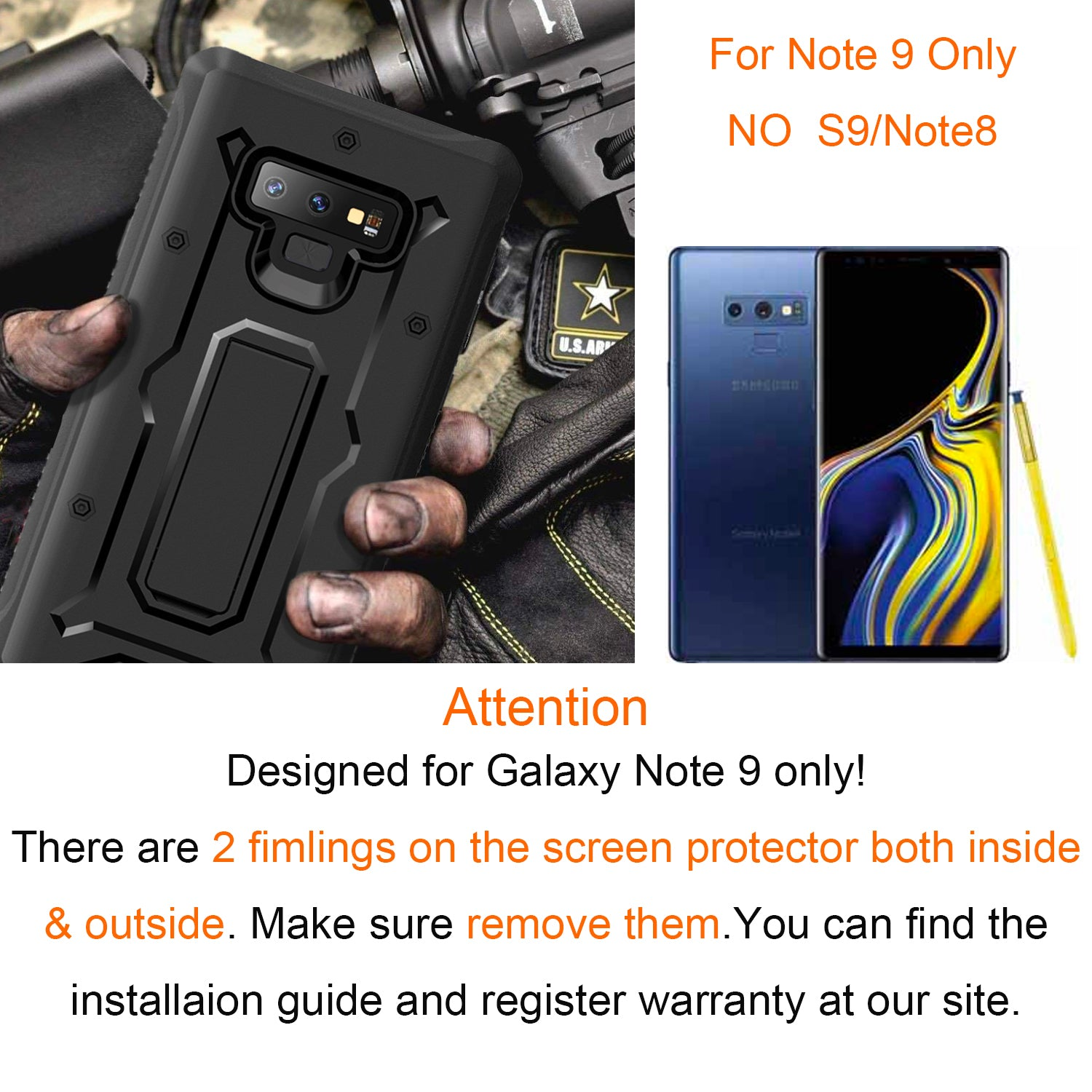 Vanguard Series Galaxy Note 9 Case - Black - AmardilloTek