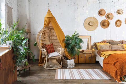 Bohemian interior design living room.