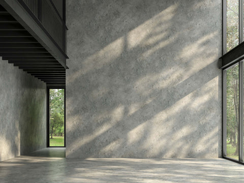 Contemporary interior design style with concrete walls.