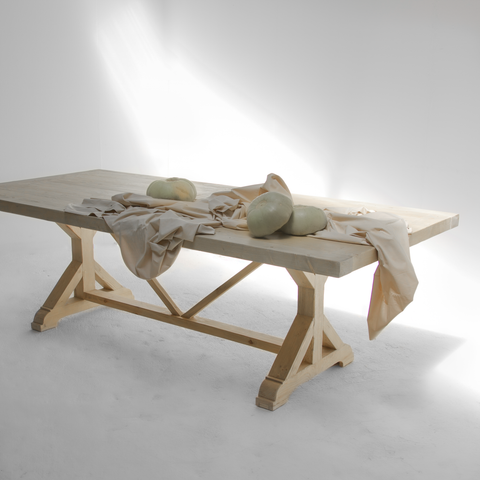 Wooden table with decorations.