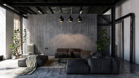 Industrial interior design living room.