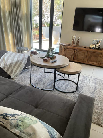 Coffee table in living room.