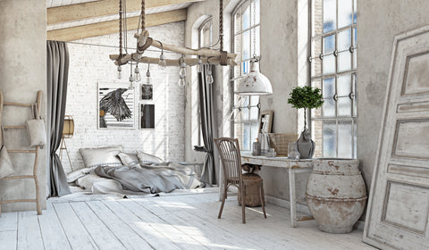 Shabby Chic interior deign bedroom.