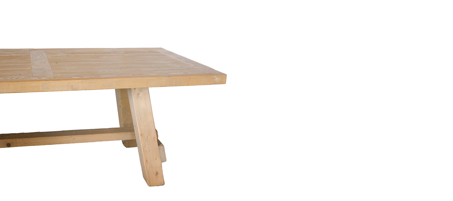 Wooden table in a website banner.