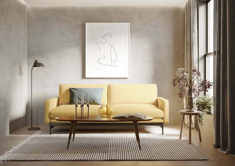 Contemporary interior design style with yellow sofa.