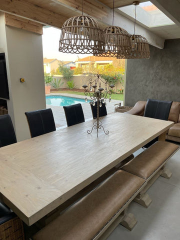 Dining room table on a patio.