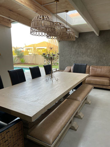 Dining room table on patio.