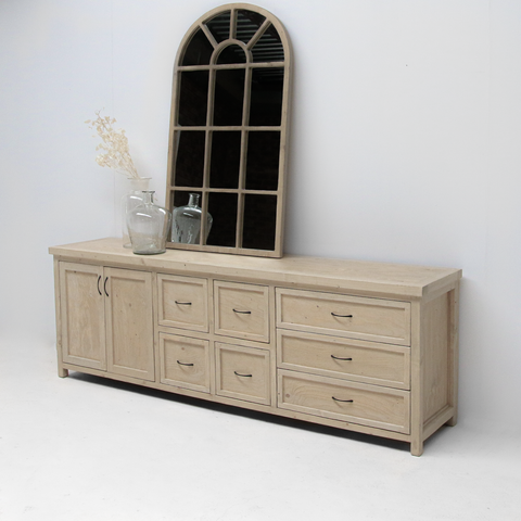 Sideboard with drawers in photography studio.