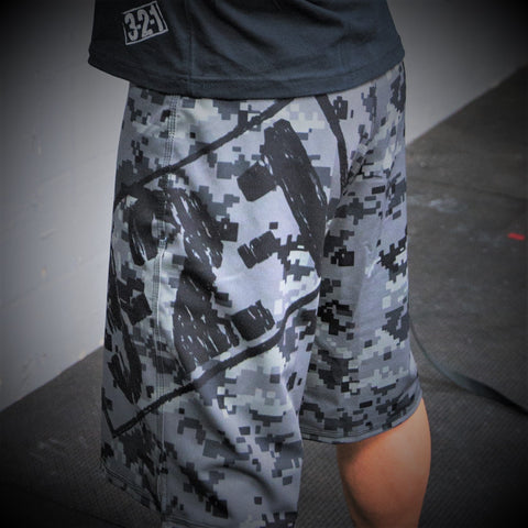 Black Ops Camo WOD Shorts w/Pockets Mens Shorts - 321Apparel - crossfit