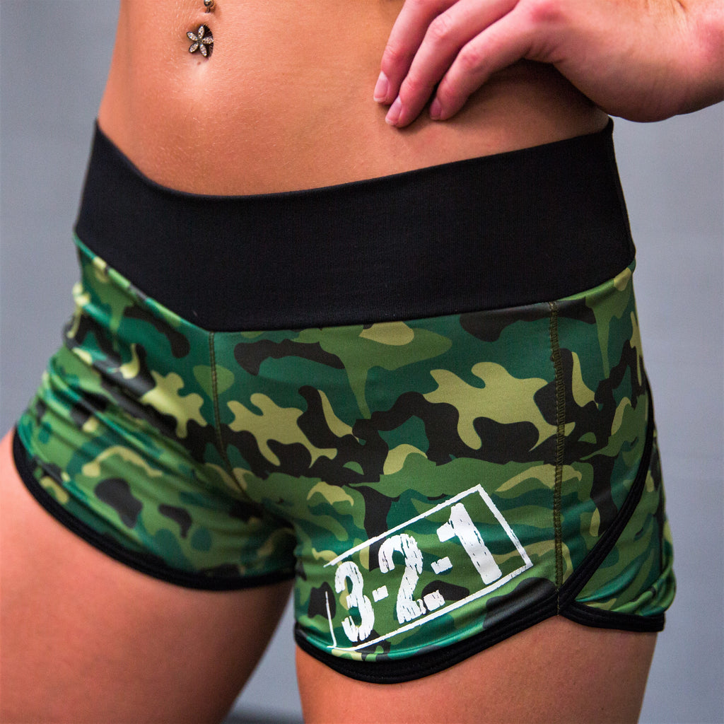 321 Ladies WOD Shorts - Green Camo Womens Shorts - 321Apparel - crossfit