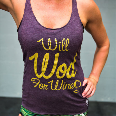 Will WOD For Wine Racerback Womens T-Shirt - 321Apparel - crossfit