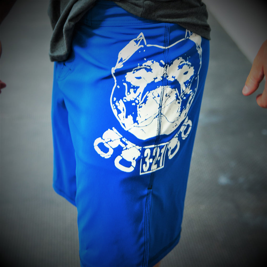 Pitbull WOD Shorts Blue Mens Shorts - 321Apparel - crossfit