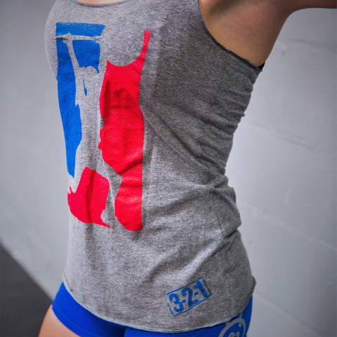 OLY Gray Racerback Womens T-Shirt - 321Apparel - crossfit
