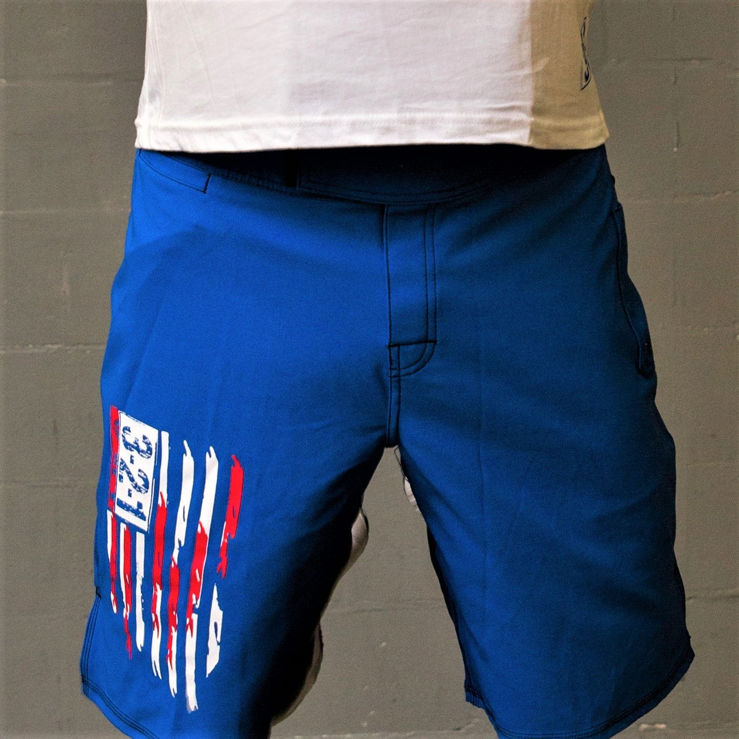 American Flag WOD Shorts- Blue Mens Shorts - 321Apparel - crossfit
