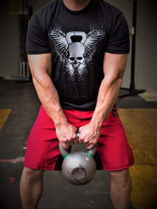Kettlebell Skull T-Shirt Black Mens T-Shirt - 321Apparel - crossfit