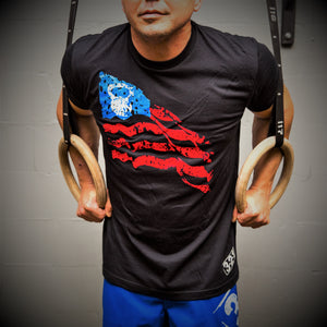 American Flag T-Shirt Black Mens T-Shirt - 321Apparel - crossfit