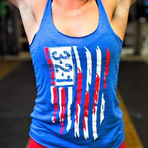Modern Flag Blue Racerback Womens T-Shirt - 321Apparel - crossfit