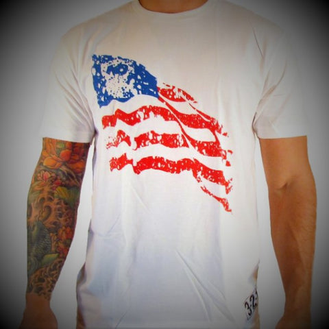 American Flag T-Shirt White Mens T-Shirt - 321Apparel - crossfit