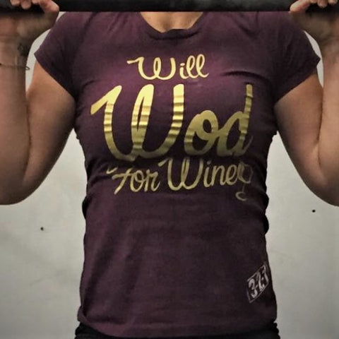 Will WOD For Wine T-Shirt Womens T-Shirt - 321Apparel - crossfit