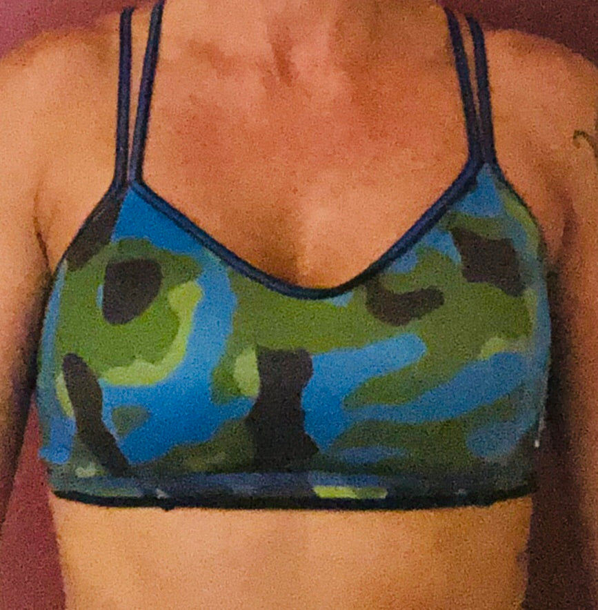 Blue/Black Camo Sports Bra
