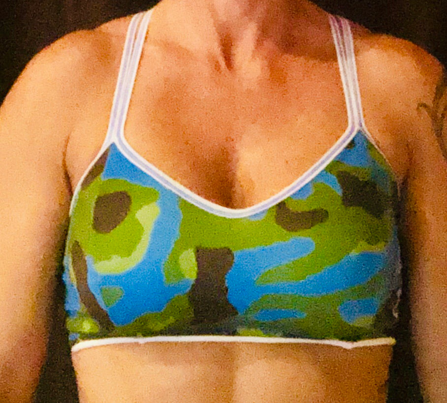 Blue/White Camo Sports Bra