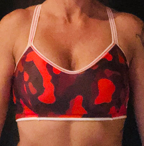 Red/White Camo Sports Bra