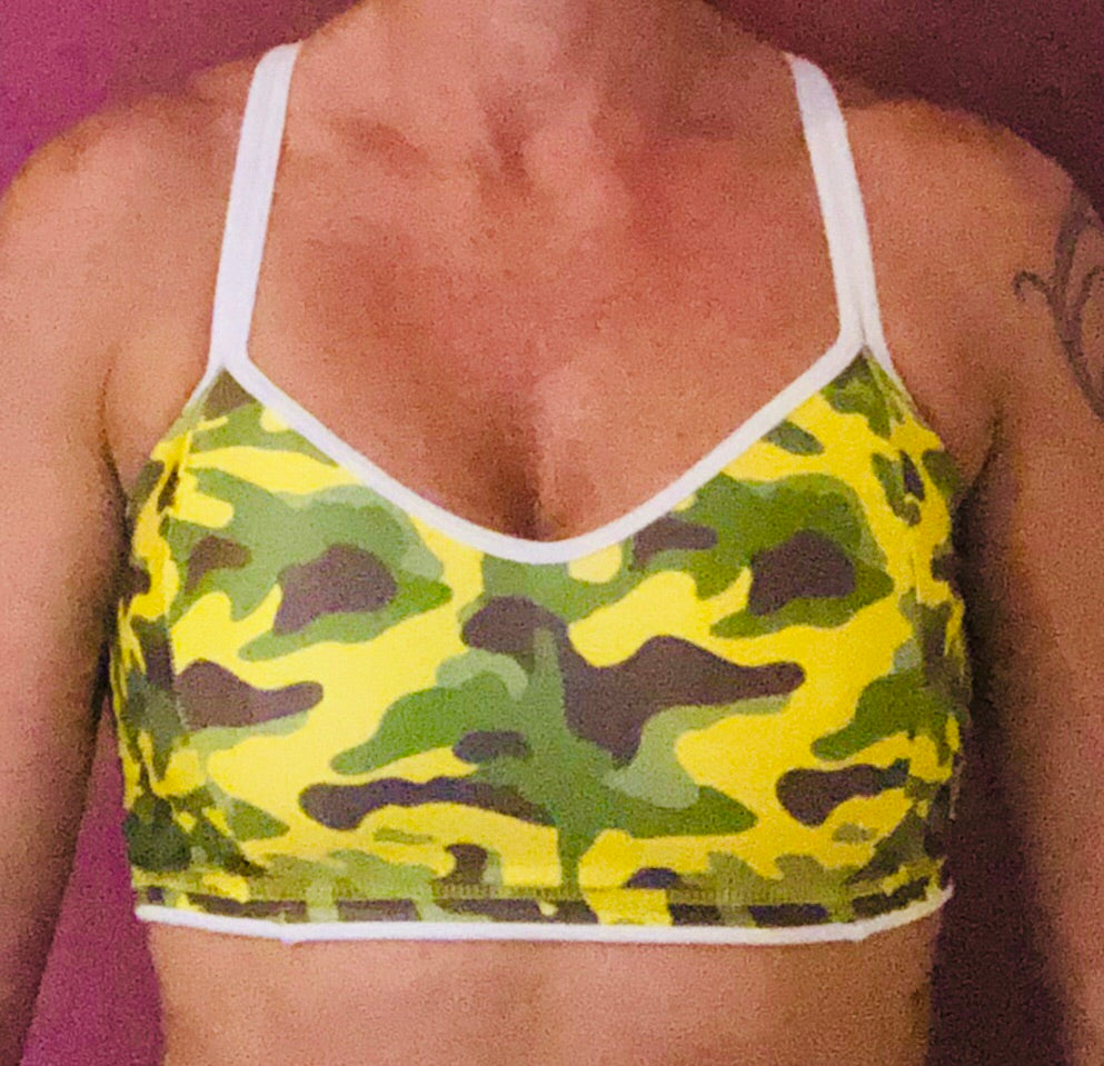 Yellow/White Camo Sports Bra