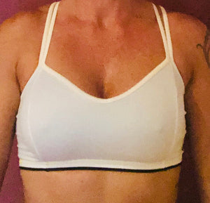 White/Black (Gold) Sports Bra