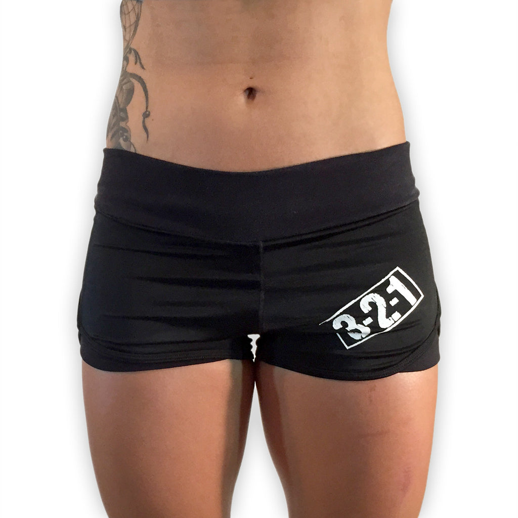 321 Ladies WOD Shorts - Black Womens Shorts - 321Apparel - wod shorts