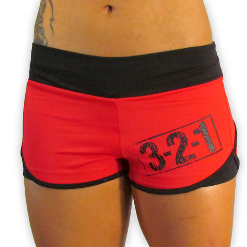 321 Ladies WOD Shorts - Red Womens Shorts - 321Apparel - wod shorts