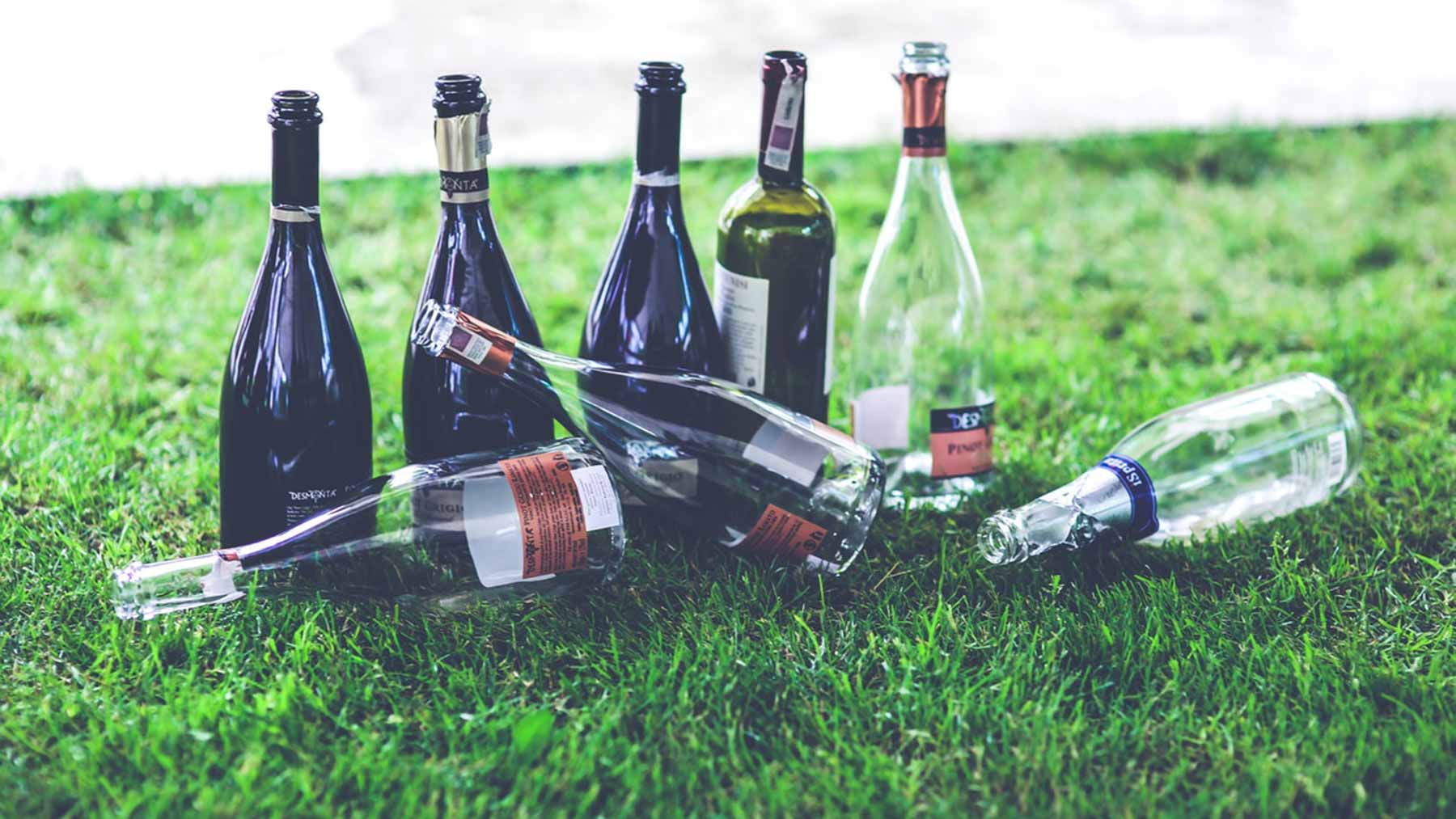 empty bottles of alcohol lying on a patch of grass to represent living life alcohol free
